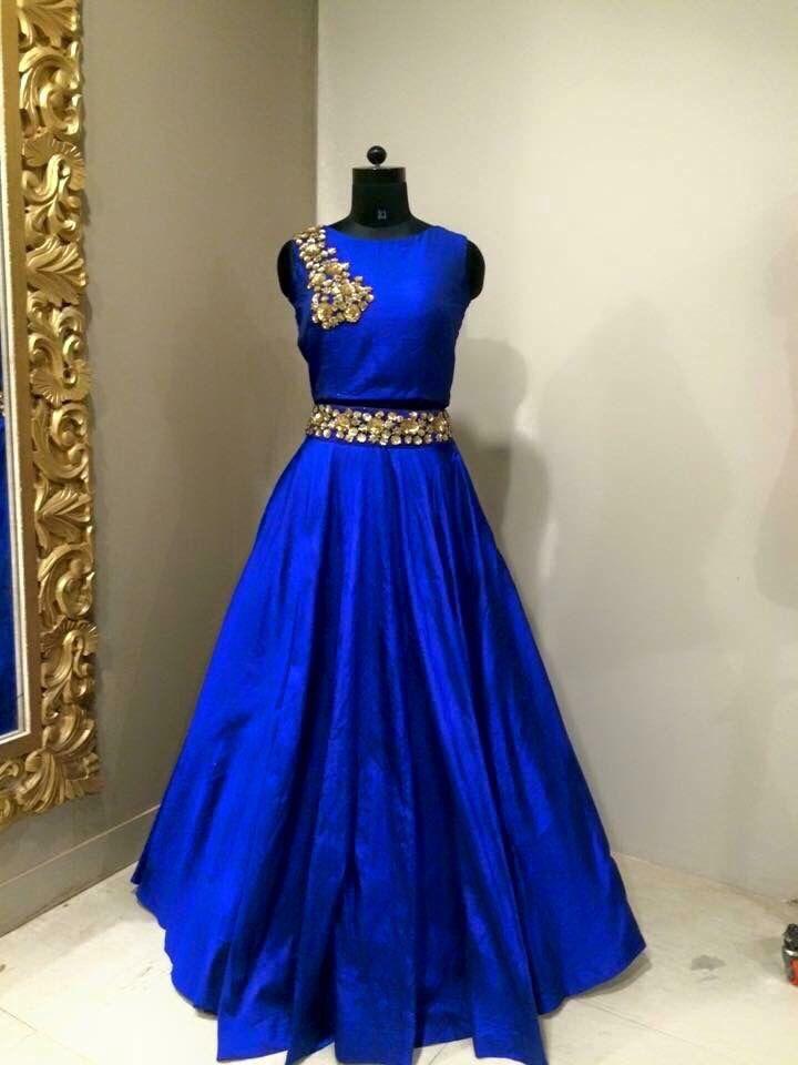 Royal Blue Lehenga Choli With Embellished Blouse And