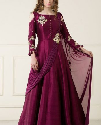 b81a23a408d6 Burgundy Hand Embroidered Anarkali With Attached Dupatta